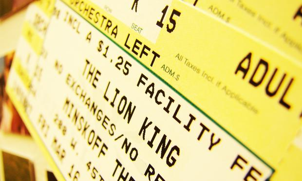 ticket to The Lion King at the Minskoff Theater