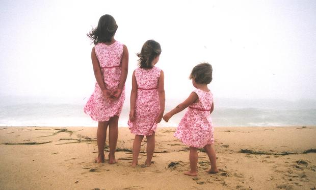 sisters, beach, children