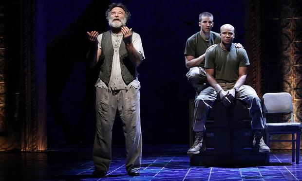 Robin Williams, Brad Fleischer and Glenn Davis in Rajiv Joseph's BENGAL TIGER AT THE BAGHDAD ZOO.