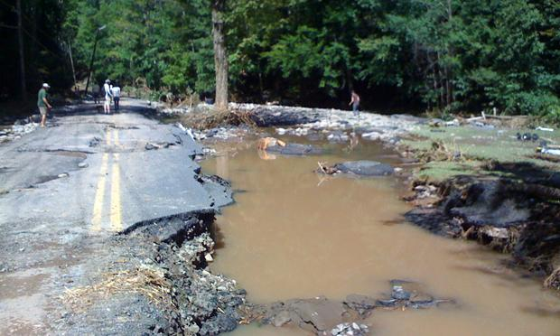 A flood damaged Burnham Hollow Road in the Catskills.
