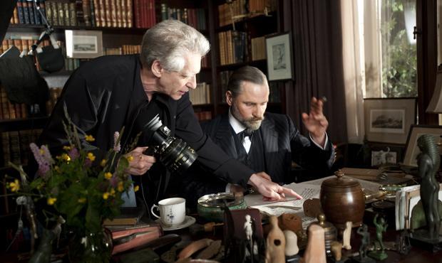 Director David Cronenberg and Viggo Mortensen on the set of A Dangerous Method