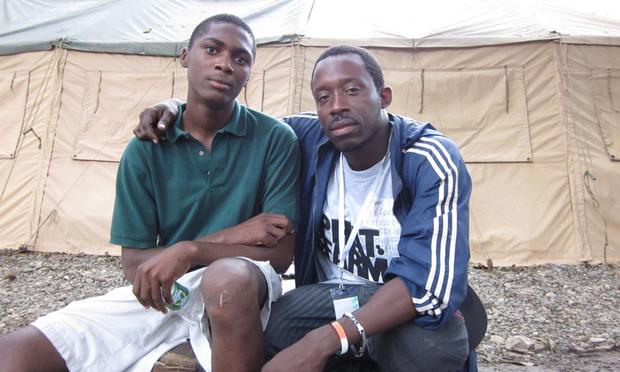 17 year-old Joseph (left), whose  whole family in Port-au-Prince was killed in the earthquake.