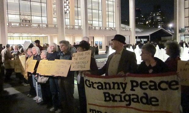 Members of the Granny Peace Brigade hold vigil at Lincoln Center