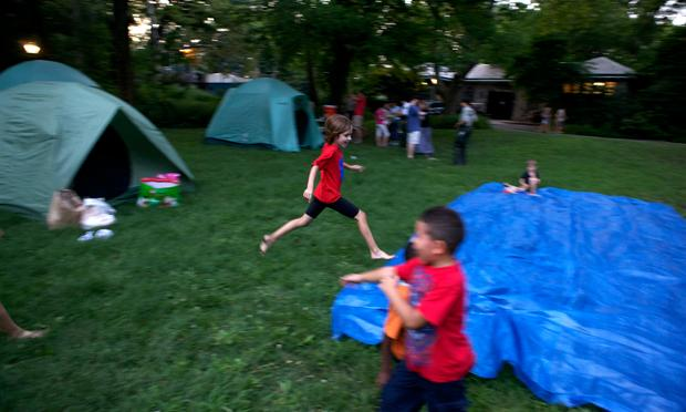 Kids ran free during a camping trip in Central Park.