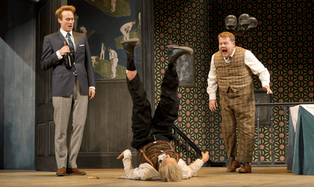 Left to right: Oliver Chris, Tom Edden, and James Corden in the Broadway production of 'One Man, Two Guvnors'