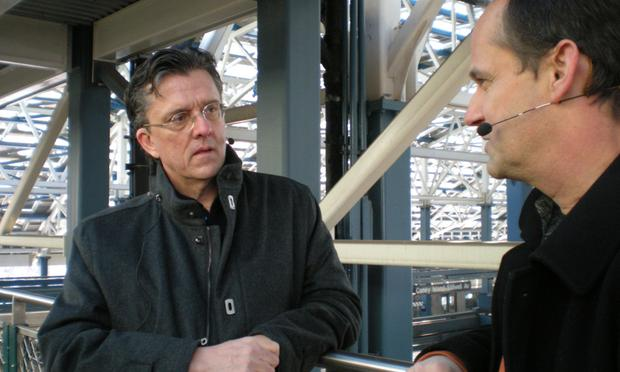 Kurt Andersen with Greg Kiss, who helped design the terminal, Coney Island, Stillwell Avenue