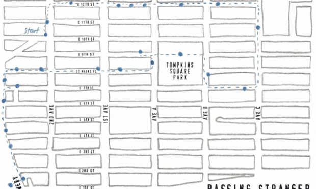 The route of the East Village Poetry Walk