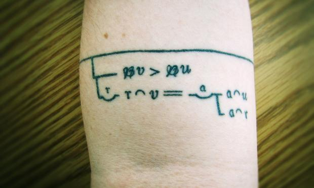 Melissa Schumacher's tattoo of Cantor's theorem written in Frege's notation