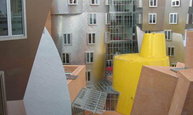 A window view from inside MIT's Stata Center, designed by Frank Gehry.