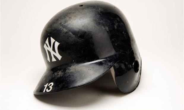 The helmet Alex Rodriguez wore when he hit his 500th career home run on Aug. 4, 2007.