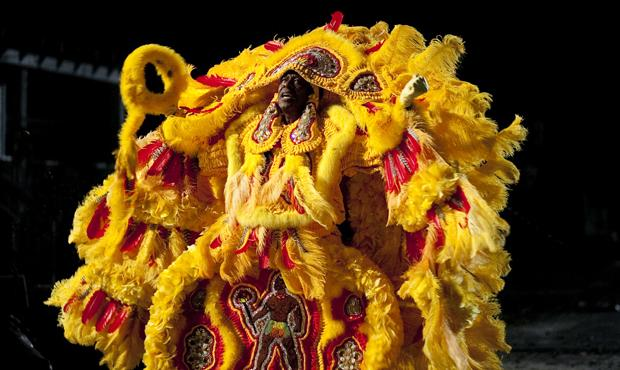 Actor Clarke Peters wears Mardi Gras Indian garb in the HBO series Treme.