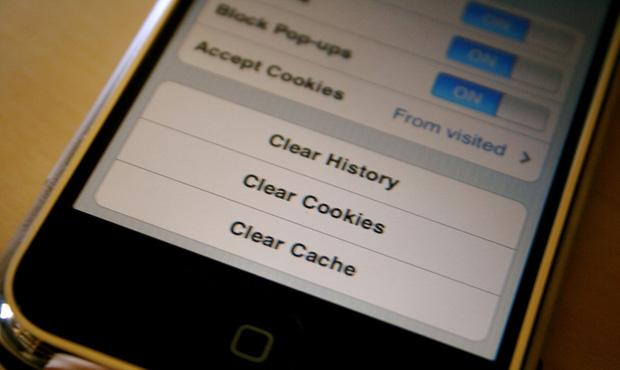 Cookies settings on an iPhone