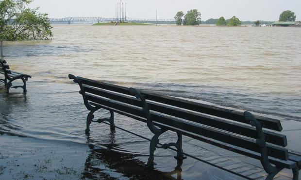 The Mississippi River floods downtown Memphis on May 9, 2011.