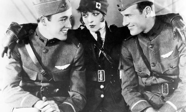 Charles 'Buddy' Rogers, Clara Bow, and Richard Arlen (left to right) on the set of 'Wings'.