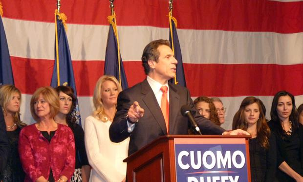 The newly elected Governor Andrew Cuomo