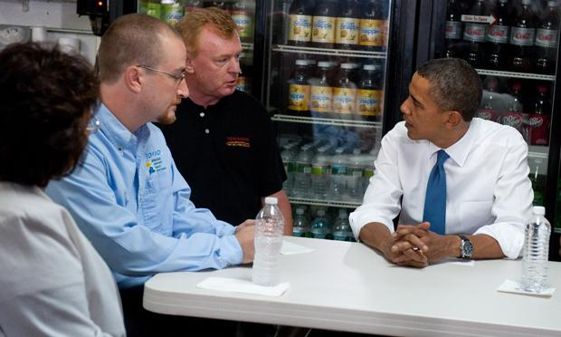 President Barack Obama speaks with small business owners during a meeting at the Tastee Sub Shop in Edison, New Jersey