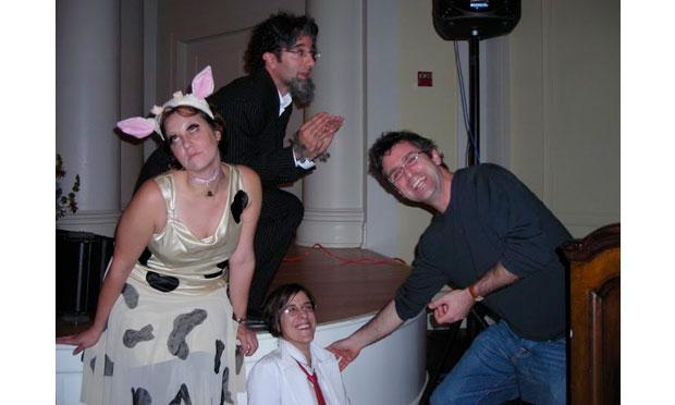 Ellen Horne, Jad Abumrad, Laura Starecheski, & Erick Gordon in a Goat on a Cow tableau