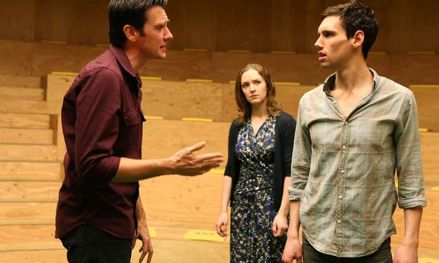 Jason Butler Harner (left), Amanda Quaid and Cory Michael Smith in 'The Cockfight Play.'