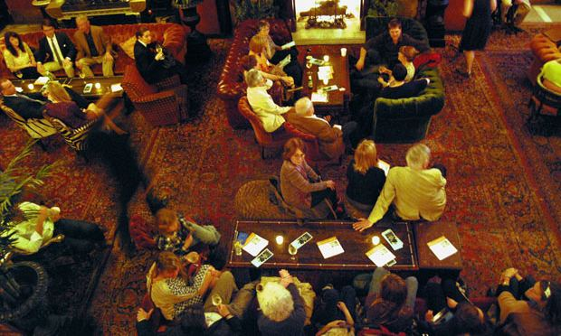 A shot of the crowd that gathered in the Jane Hotel ballroom on a recent Thursday night in the same room where the Titanic's surviving sailors once stood.
