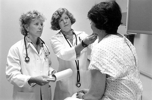 Doctors and patient