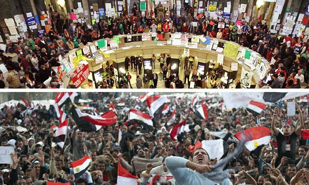 Egyptian anti-government demonstrators in Tahrir Square and demonstrators protest in the capitol rotunda in Madison, Wisconsin.