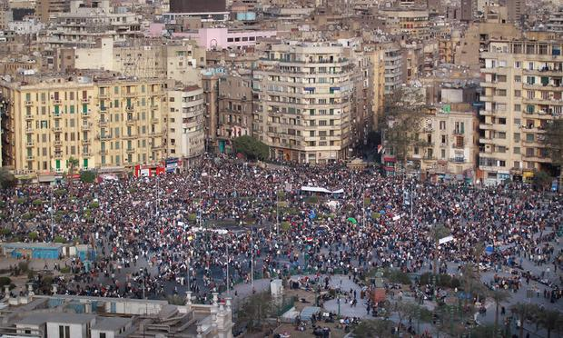 Protestors defy the curfew in Tahrir Square on January 31, 2011 in Cairo, Egypt.