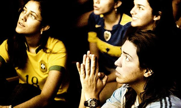 Fans watching soccer