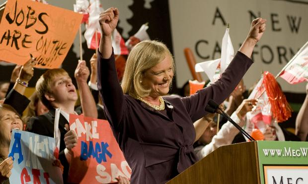 Republican gubernatorial candidate Meg Whitman delivers a campaign speech to supporters at her primary night party at the Universal Hilton Hotel June 8, 2010 in Los Angeles, Ca.