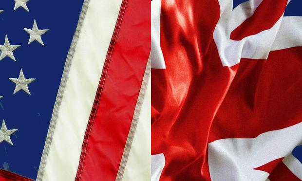 British Union Jack and American Star-Spangled Banner flags
