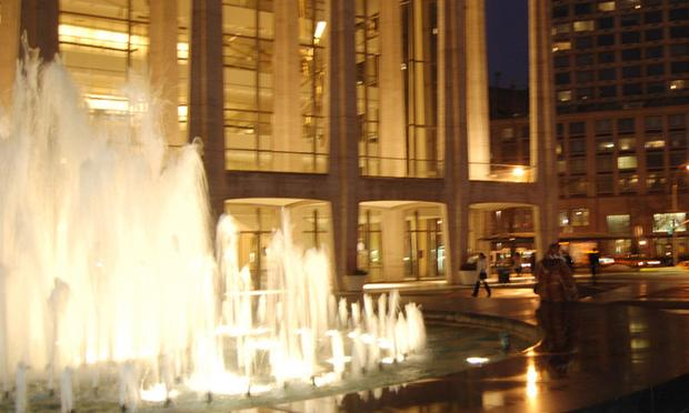 Fountain at night in front of Avery Fisher Hall, Lincoln Center