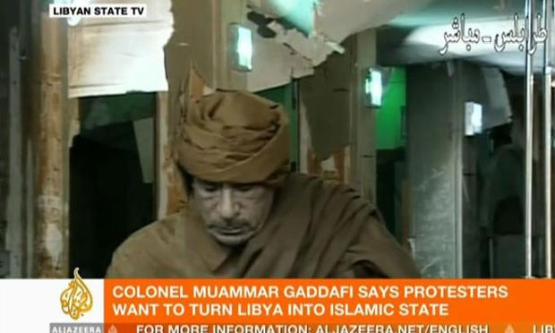 Libyan leader Col. Moammar Gadhafi  speaking on Libyan State TV on Tuesday, February 22, 2011