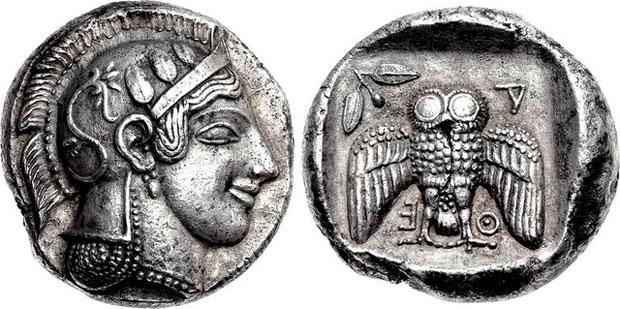Greek Silver Dekadrachm of Athens (Attica)