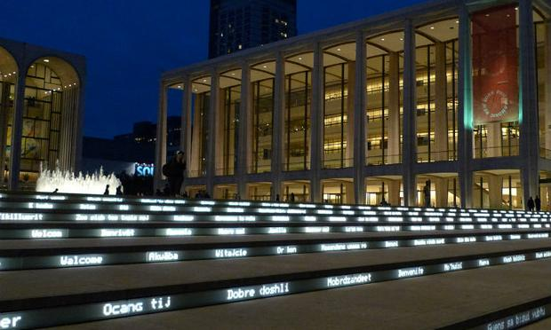 Lincoln Center, Josie Robertson Plaza, the Revson Fountain, and LED text Grand Stair