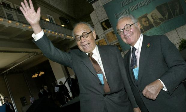 Martin Segal (R) with architect I.M. Pei (L) at the Ellis Island Museum in 2004