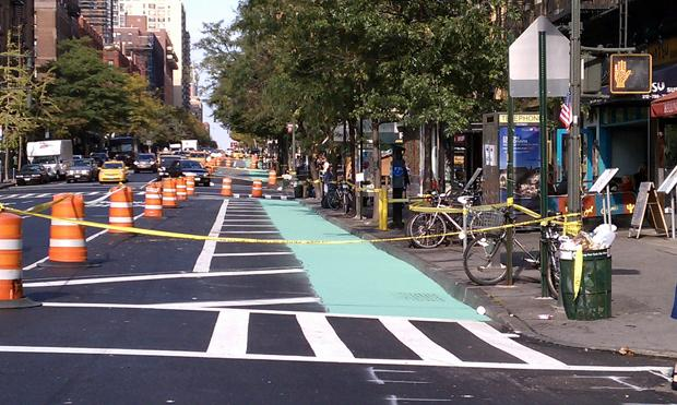 New bike lanes on Columbus Avenue in the summer 2010