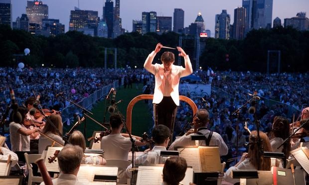 The New York Philharmonic play in Central Park