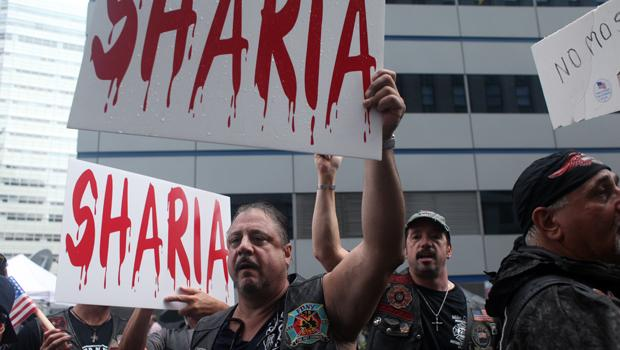 Many of the protesters claimed a connection between the proposed Islamic center and the imposition of sharia law on Americans.