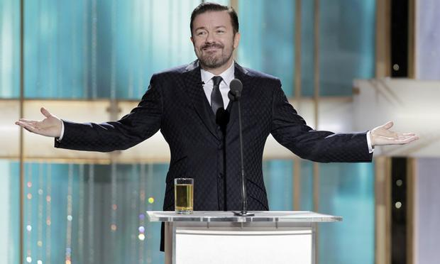 Ricky Gervais at the Golden Globes on January 16, 2011 in Beverly Hills, California.