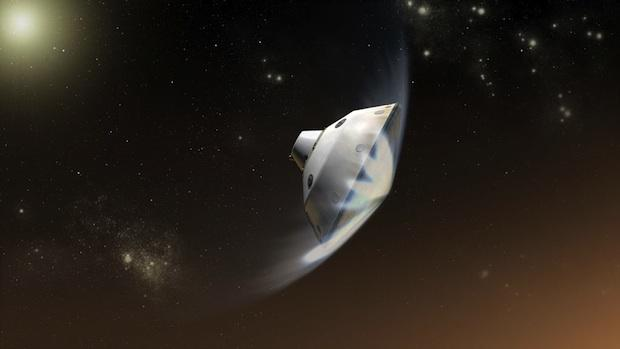 Deceleration of Mars Science Laboratory in Martian Atmosphere, Artist's Concept