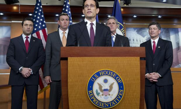 US House Majority Leader Eric Cantor (R-Va.) speaks on budget negotiations and a possible government shutdown at the U.S. Capitol on April 7, 2011.