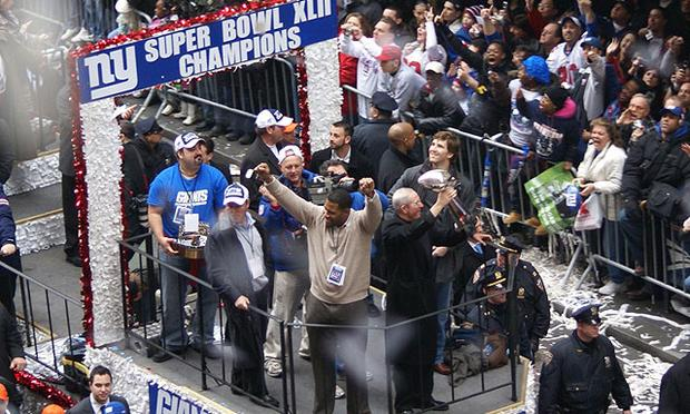 After the Giants upset the New England Patriots 17-14 in Super Bowl XLII, a ticker-tape parade was held in Lower Manhattan.
