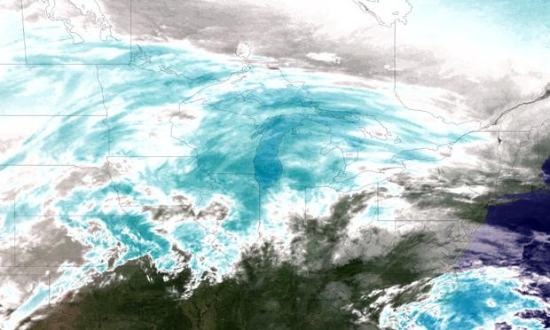 Satellite image from NOAA showing massive winter storm crossing the U.S.
