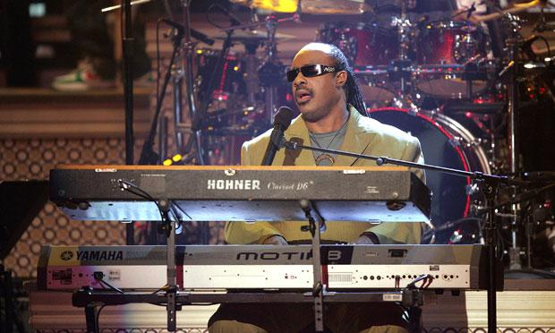 Singer Stevie Wonder onstage at the BET Awards at the Kodak Theatre in 2005.