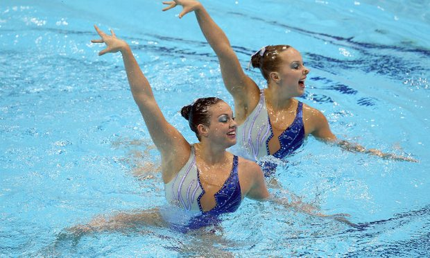 U.S. Olympic synchronized swimming duet of Mary Killman and Mariya Koroleva