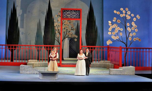 Kathleen Kim as Blondchen, Brenton Ryan as Pedrillo, Albina Shagimuratova as Konstanze and Paul Appleby as Belmonte in Mozart's 'Die Entführung aus dem Serail.'