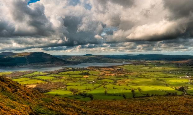 Clouds over Bassenthwaite Lake, Cumbria, in England.