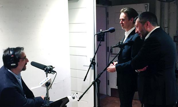 WQXR host Jeff Spurgeon backstage at Carnegie Hall with tenor Ian Bostridge and pianist Thomas Adés.