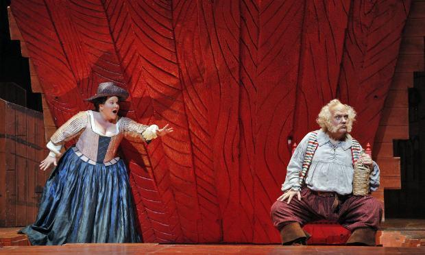 Meredith Arwady (L) as Dame Quickly and bass baritone Bryn Terfel as Falstaff in Verdi's final opera