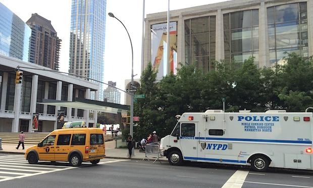 Police in front of Lincoln Center in advance of the Metropolitan Opera's lockout deadline Sunday