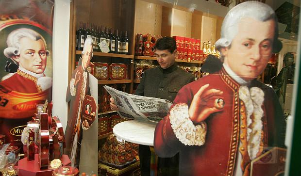 A Mozart store in Salzburg offers endless varieties of sweets and souvenirs on the eve of Mozart 250th birthday in 2006.